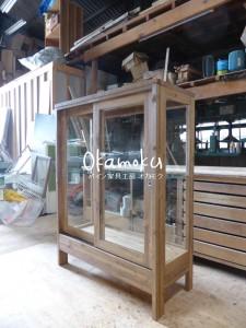 ガラスケース120(木製木枠・オーダー)/斜視