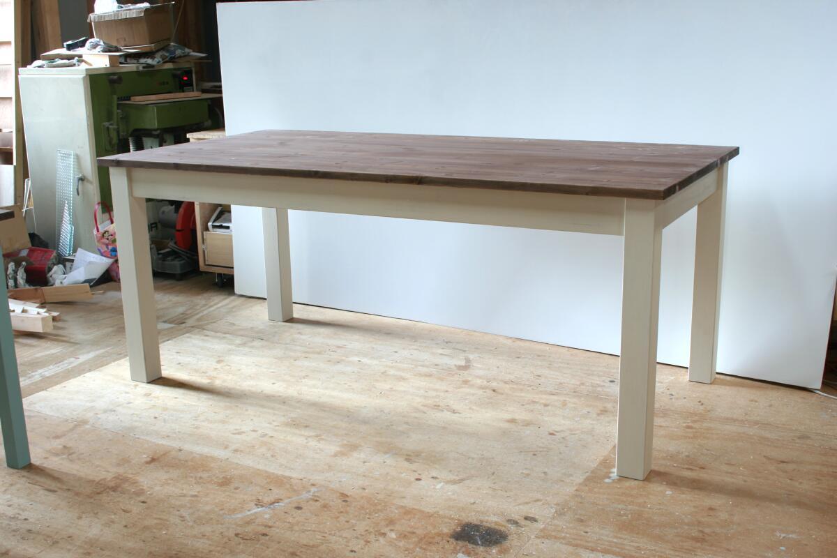 ダイニングテーブル ツートン・白ナチュラルアンティークとローズ色