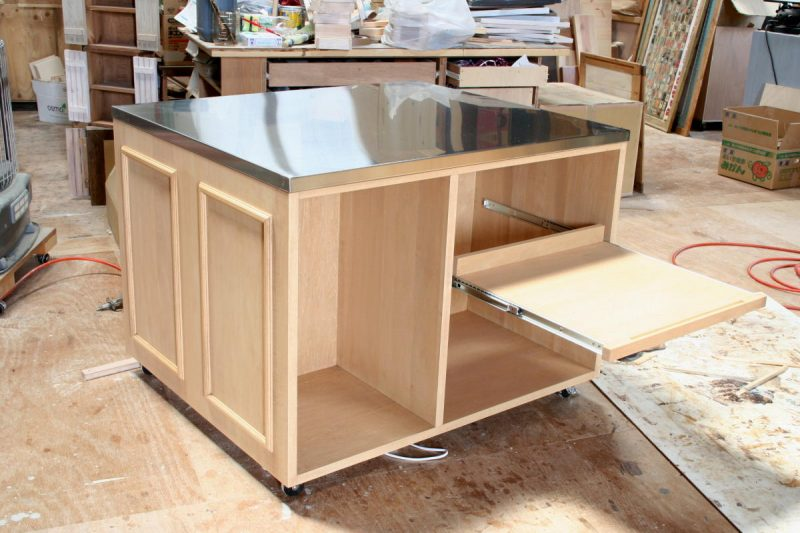 ステンレストップキッチンカウンターテーブル・スライド棚