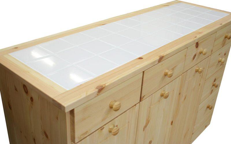 分別ダストボックスタイプの両面キッチンカウンター(タイルトップ)